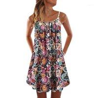 Womens Dress damen Vintage Boho Women Summer Sleeveless Beach Printed Short Mini Dress dresses for women