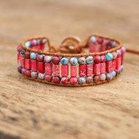 Charm Bracelets Handmade Wrap Bracelet Red Imperial Jasper Beads Weaving Statement Wristband Teengirls Jewelry Gifts For Women