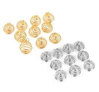 Gümüş Kaplama Spiral Boncuk Kafesler Charms Kolye Bulguları 9x13mm Takı Yapımı DIY