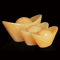 Natural Yellow Jade Gold Ingot Hand Carved Quartz Crystal Gold Ingot Figurine Healing Crystal Stone Crafts FengShui Home Decora
