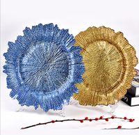 Plaque de chargeur de flocon de neige en verre de 13 pouces avec finition d'electroving Forme de fleur Plateau de fruits de la vaisselle pour la fête de mariage or argent argent