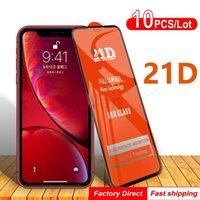 Protecteurs d'écran en verre trempé de 21D pour iPhone 12 11 Pro Max XS XR x 8 7 6S Plus Verres de colle à pleine couleur SE2
