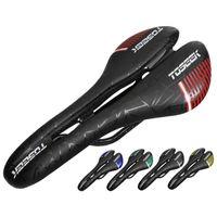 Saddles de vélo TOSeek TS90 Full Carbon Fibre Montagne Siège de la route Confortable Selle ultra légère Vélo + cuir