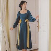 Günlük Elbiseler Coigarsam Sonbahar Elbise Kadınlar Kış 2021 Ofis Bayan Fransız Tarzı Vintage Uzun Kollu Katı Kare Yaka Tavuskuşu Mavi