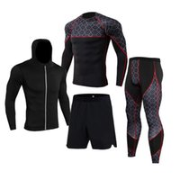 Men's Tracksuits 4Pcs Outdoor Jogging Sport Suits Men Gym Sportswear Running Track Fitness Body Building Outwear Clothing Suit Male