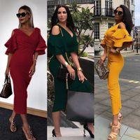 Toptan Bayan Günlük Elbiseler Moda Seksi Çanta Kalça Derin V Yaka Straplez Fırfır Kol Uzun Etek