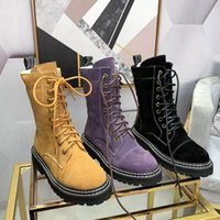 Leather ladies Martin boots winter non-slip thick heel flat casual shoes designer lace-up ankle boots knight boots 35-41 size