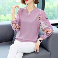 Women's T-Shirt Fashion Printing V-neck Long Sleeve Chiffon Tee Women Casual Plus Size 6XL Slim 2021 Korean Allmatch Floral Tops