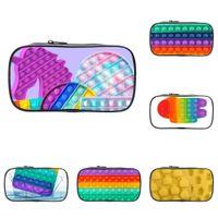 Portafoglio con cerniera Portafoglio Portafoglio Bambini Carino Borse Studente Studente Stoccaggio Sacchetto di stoccaggio 3D Rainbow Push Pop Fidget Puzzle Giocattoli stampati Trucco cosmetico stampato BGAS G809ADI