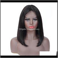 Products Drop Delivery 2021 150Percent Density 4X4 Lace Frontal 100Percent Peruvian Human Hair Straight Bob Wigs Gaga Queen Vf2Ae
