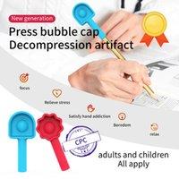 Hot Rainbow Pop Push Bubble Fidget It Desktop Educational Toys Pressure Pen Cap Pinching Music Decompression Finger Toy for Kids Student Gifts