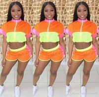 Fluoreszenz Täfelte Sommer Womens 2 stücke Anzüge Reißverschluss Stehkragen Kleidung Sommer Mode Sexy Casual Street Trainingsanzüge