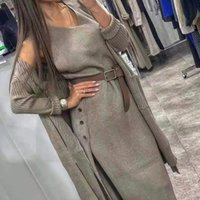 Taotrees Bayan Eşofman Örme Takım Iki Parçalı Set Örgü Hırka Gevşek Kazak Ceket Kemer Ile