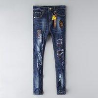 FF Designer Jeans Mens Проблемные разорванные скинни Брюки Роскошные Одежда Тонкий мотоцикл Мото Biker Хип-хоп Джинсовый Человек Вышивка Глазные Брюки