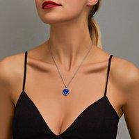Colares de pingente vendendo jóias Titanic Cristal Sparkling Love Colar Temperamento Clássico Oceano Coração Mulheres Atacado