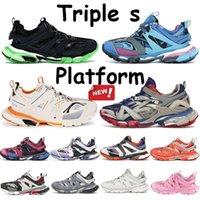Melhor Qualidade Triple S 3.0 Plataforma Paris Sneakers Runner Blue Brilho Nos Treinador Dark Treineiro Homens Mulheres Correndo Sapatos Classic Shoe Casual