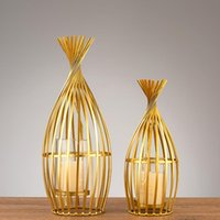 Candle Holders Gold Bedroom Modern Wedding Table Centerpiece Candlestick Holder Candelabra Stand Bougeoir Decor BI50CH
