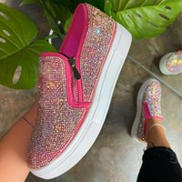 Sandals Loafers Women's Rhinestone Shoes 2021 Summer Leisure Thick-soled Sequin Design Slip-on