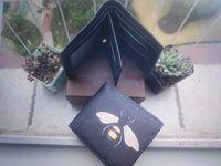 Nouveaux Hommes Hommes Animal Court Portefeuille Cuir Noir Snake Tiger Bee Portefeuilles Femmes Porte-monnaie Portefeuille Portefeuille Porte-cartes avec boîte-cadeau