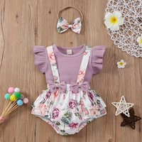 Knitted Ribbed Baby Girls Sets Toddler Ruffle Solid Tops+floral Printed Bow Suspender Shorts Overalls Outfits Born Clothes Clothing