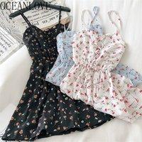 Oceanlove Весна Летнее Платье Женщины Сладкая Цветочная V Шея Высокая Талия Vestidos A-Line Корейский Изучение Kawaii Платья Платья 210320