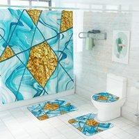 Shower Curtains Minimalist Marble Golden Pattern Waterproof Curtain Non-Slip Absorbent Bathroom Bath Mat Kitchen Carpet Set Toilet Decor