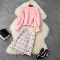 Two Piece Dress European and American women's wear winter style Long-sleeved space cotton hoodie Embroidered sequined skirt Fashion suit