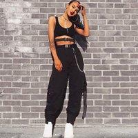 Streetwear화물 바지 여성 캐주얼 조깅기 블랙 하이 웨이스트 루스 여성 바지 한국어 스타일 숙녀 바지 카프리