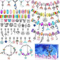 Charm Bracelets 112pcs Charms Crystal Bracelet Gift Box For Woman Girl Cute Glass Bead Bangle Pendant Jewelry Set