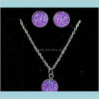 Style Luxury Bridal Jewelry Set Crystal Beads Necklace Simulated Diamond Druzy Earrings 2018 Female Wedding Jewelry For Woman E5Hij 6Yowo