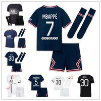 Messi 30 Maillots Football Kits 21 22 4/4 축구 유니폼 2021 2022 Mbappe Icardi 셔츠 남성 아이들 세트 유니폼 마일 로트 드 발 아빠리스 파드 옴므