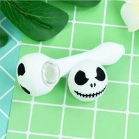 White Ragdoll wax dab rigs Skull Hand Pipes 4.6'' Halloween mini water pipe silicone bongs