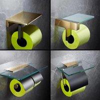 Suportes de papel higiênico Tuqiu Suporte de banheiro total rolo de bronze de ouro caixas de rack