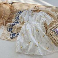 Childern niños amarillo flor de algodón manga corta moda princesa vestidos niños de verano bebés vestido ropa ropa