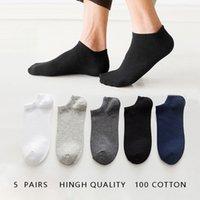 5 Pairs 1 Lot Scoks men Cotton Men's Socks Pack Set Solid Color White Black Short Socks Mens Thin Ankle Socks Spring Summer Sox