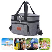 Portable Lunch Bag Thermal Insulated Cooler Picnic Storage Bags 9L Shoulder Box Tote Travel Handbag Outdoor Pads