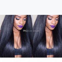5*4.5'' Glueless Silk Top Full Lace Wigs Light Yaki Brazilian Virgin Hair Full Lace Human Hair Wigs Yaki Straight For Black Women