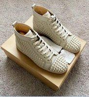 21s chaussures décontractées marquées de marque Soles rouges Haut-tête Haut-hauts Sneakers rivets à pointe pour hommes plats à lacets noir cuir noir Cuir bleu Pointures pleines de jogging en plein air
