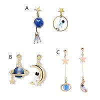 Stud Cute Cartoon 3D Astronaut Spaceman Earrings For Women Girls Asymmetrical Planet Star Moon Fashion Jewelry