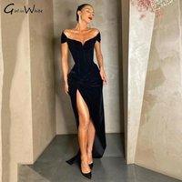 Party Dresses Black Mermaid Velvet Evening Sexy Pleats High Slit Prom Dress Cap Sleeves Princess Gowns