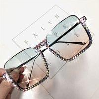 Орельдейские алмазные солнцезащитные очки женщины мода наполовину беззаконный половина хрустальной рамы прозрачные очки градиент очистить линз женские очки