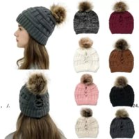 NEW!!! 2021 Fashion Knitted Ponytail Caps Women Pom Pom Ball Ponytail Beanie Winter Warm Wool Knitting Hat Christmas Party Hats DHL Shipping DG