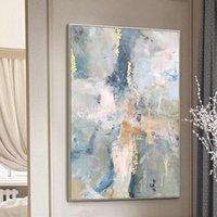 Pinturas folha de ouro foto art pintado moderno pintura a óleo abstrata na parede da lona para sala de estar decoração de casa não enquadrado