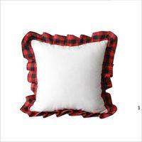 Красный черный плед сублимационные наволочки льняные решетки кружева подушка наволочки пустой фото диван подушка крышки рождественские украшения вечеринки OWA7802