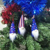 4. Juli Party Gnome Amerikanische Unabhängigkeitstag Hangende Ornamente USA Patriotische handgefertigte Plüsch Gesichtslose Gnome Dekorationen Geschenk
