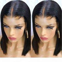 الجزء الأوسط الحرير مستقيم قصير بوب الدانتيل الجبهة الباروكات الاصطناعية شعر مستعار الشعر الطبيعي الأسود بني شقراء أحمر أزرق اللون للنساء