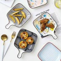 الأطباق لوحات السيراميك خبز البيتزا لوحة وحيد مقبض ساحة شكل سقفية اللون الخزف أدوات المائدة دعم فرن