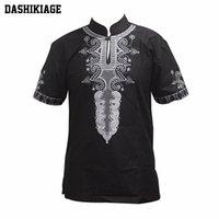 Dashikiage Africana 4 Cores de Algodão Dashiki Casa Tradicional Camisa UNISEX NIGgerian Native Ankara Top 210322
