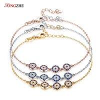Enlace, cadena tongzhe encanto 925 pulsera de plata esterlina mujeres azul piedra cristal afortunado pavo malvado ojo para joyería de oro