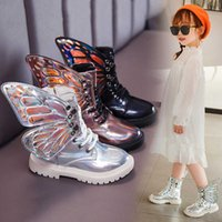 Girls Martin boots 2020 autumn new fashion children's short British style butterfly wings leather princess Y0909